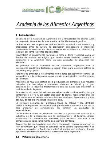 Academia de los Alimentos Argentinos - Facultad de Agronomía ...