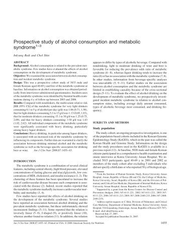 Prospective study of alcohol consumption and metabolic syndrome1–3