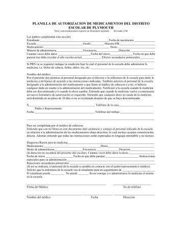 planilla de autorizacion de medicamentos del distrito escolar de ...
