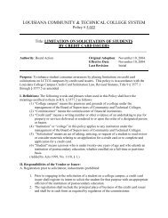 Limitation of - Louisiana Community and Technical College System