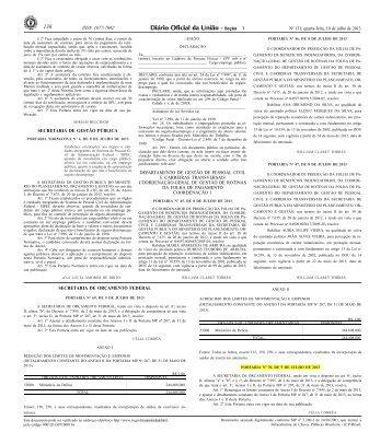 Portaria MPOG SOF nº 70, de 09/07/2013 - Tesouro Nacional