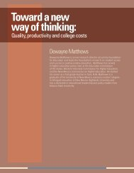 Toward a new way of thinking: quality, productivity and college costs