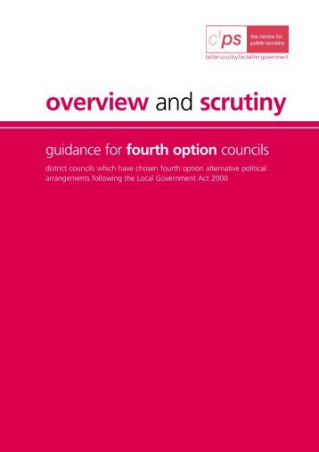Overview and Scrutiny Guidance for Fourth Option Councils