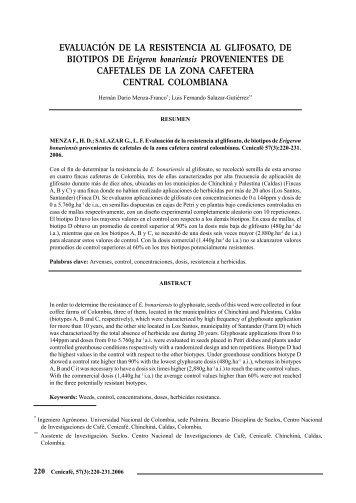 EVALUACIÓN DE LA RESISTENCIA AL GLIFOSATO, DE BIOTIPOS ...