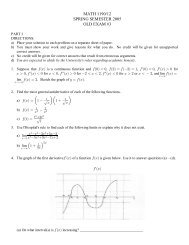 MATH 1190/12 SPRING SEMESTER 2005 OLD EXAM #3 - PageOut