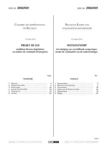 PROJET DE LOI WETSONTWERP - Juridat
