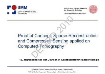Proof of Concept: Sparse Reconstruction and Compressed Sensing ...