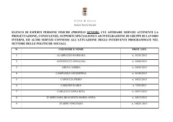 Elenco persone fisiche - senior - Comune di Lecce
