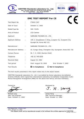 EMC TEST REPORT For CE - Samsung CCTV