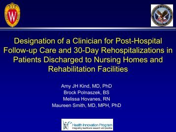 Designation of a Clinician for Post-Hospital Follow-Up Care and 30 ...