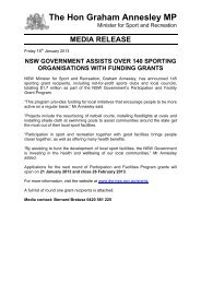 The Hon Graham Annesley MP - NSW Sport and Recreation - NSW ...