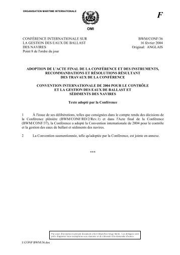 OMI CONFÉRENCE INTERNATIONALE SUR LA GESTION DES ...