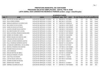 Resultado de candidatos negros e pardos - Prefeitura de Contagem