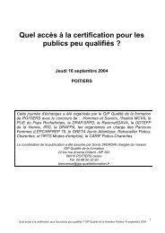 Quel accès à la certification pour les publics peu qualifiés ?