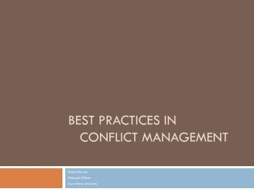 Best Practices in Conflict Resolution - Iowa State University