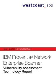 IBM Proventia® Network Enterprise Scanner - West Coast Labs