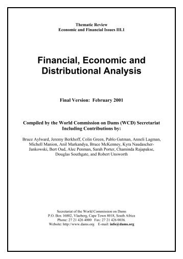 Financial, Economic and Distributional Analysis - Centre ...