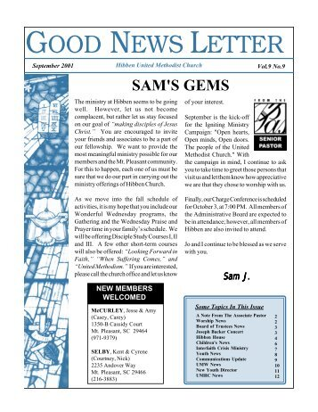 GOOD NEWS LETTER - Hibben United Methodist Church