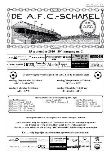 15 september 2010 89ste jaargang nummer 2 - AFC, Amsterdam