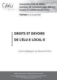 DROITS ET DEVOIRS DE L'ÉLU-E LOCAL-E - Cédis Formation