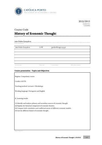 History of Economic Thought - Faculdade de Economia e Gestão