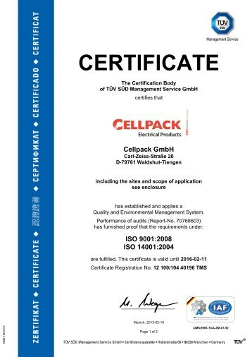 ISO certificat - Cellpack Electrical Products