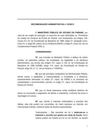 recomendação - Ministério Público do Paraná