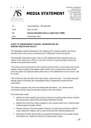 MEDIA STATEMENT - Association of Independent Schools of SA