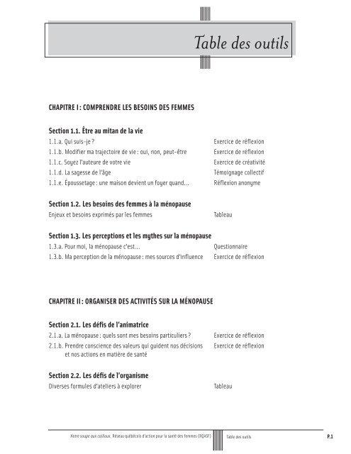 Table des outils - Réseau québécois d'action pour la santé des ...