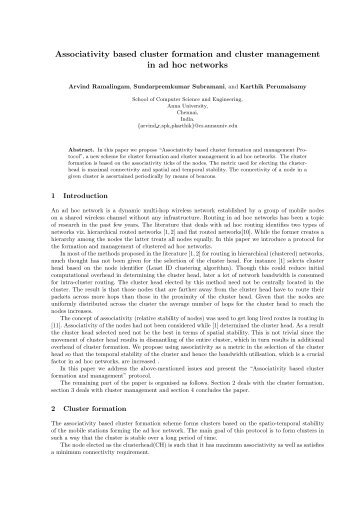 Associativity based cluster formation and cluster ... - HiPC
