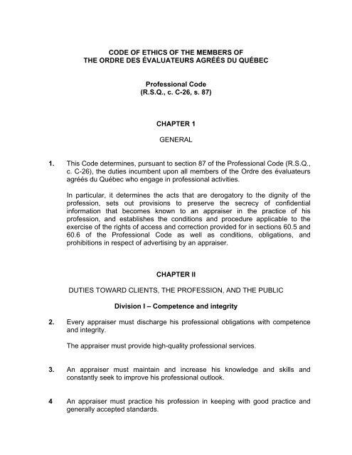 RSQ, c. C-26, s. 87 - Ordre des évaluateurs agréés du Québec