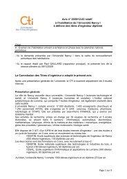 Avis Université Nancy 1 et écoles internes - Commission des Titres ...