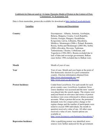 "Codebook for Data-set used in ""A Game Theoretic Model of Protest ..."