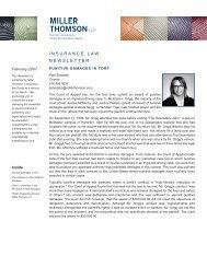 Punitive Damages in Tort Evidence - Miller Thomson