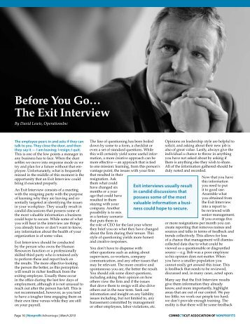 Before You Go… The Exit Interview - Connecticut Association of ...