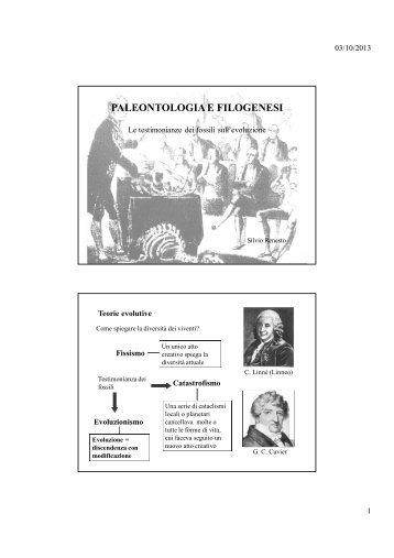PALEONTOLOGIA E FILOGENESI - Università dell'Insubria