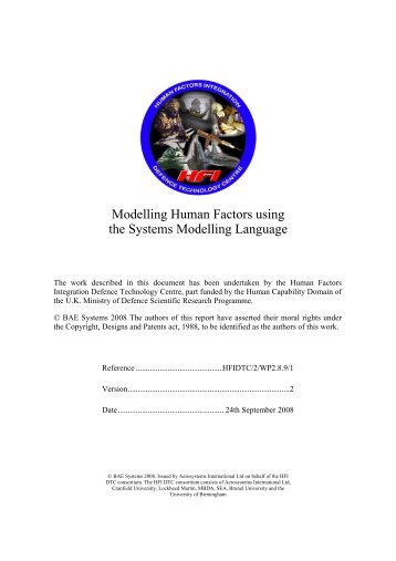 Modelling Human Factors using the Systems Modelling Language