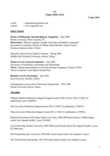 CV Engin ARIK, Ph.D. 3 June 2013 e-mail : enginarik@enginarik ...
