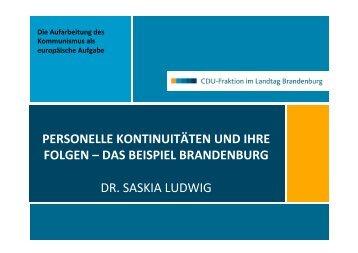 """Vortrag von Dr. Saskia Ludwig: """" Personelle Kontinuitäten und"""