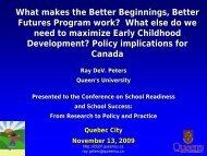 What Makes the Better Beginnings, Better Futures Program work?