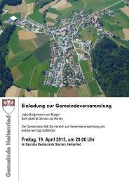 Einladung zur Gemeindeversammlung - Gemeinde Heitenried