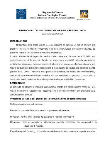 Protocollo della Comunicazione nella prassi clinica - IOV