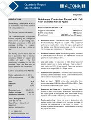 Quarterly Report - March 2013 - Altona Mining