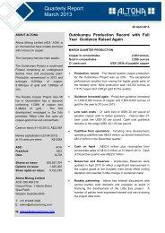 Quarterly Report - March 2013 - Altona Mining