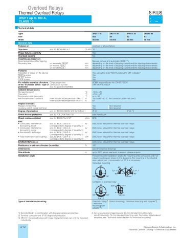 Overload Relays - Siemens Industry, Inc.