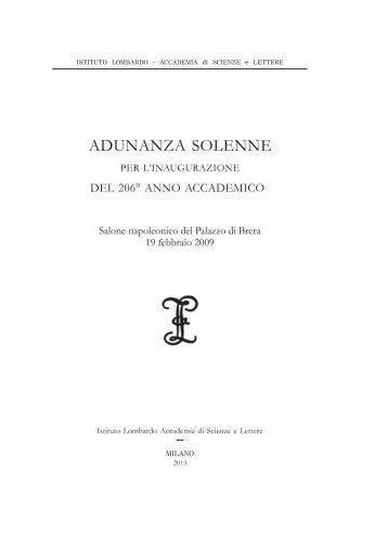 Adunanza solenne 2009 - Istituto Lombardo Accademia di Scienze ...