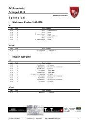 Samstag 2012 Spielplan Gruppen - FC Bazenheid 1938