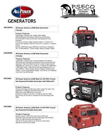 GENERATORS - Public Safety Equipment Company LLC