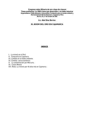 Congreso sobre Minería de oro a base de cianuro Tema preliminar ...