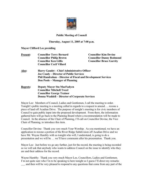 Public Meeting, August 11th - City of Charlottetown